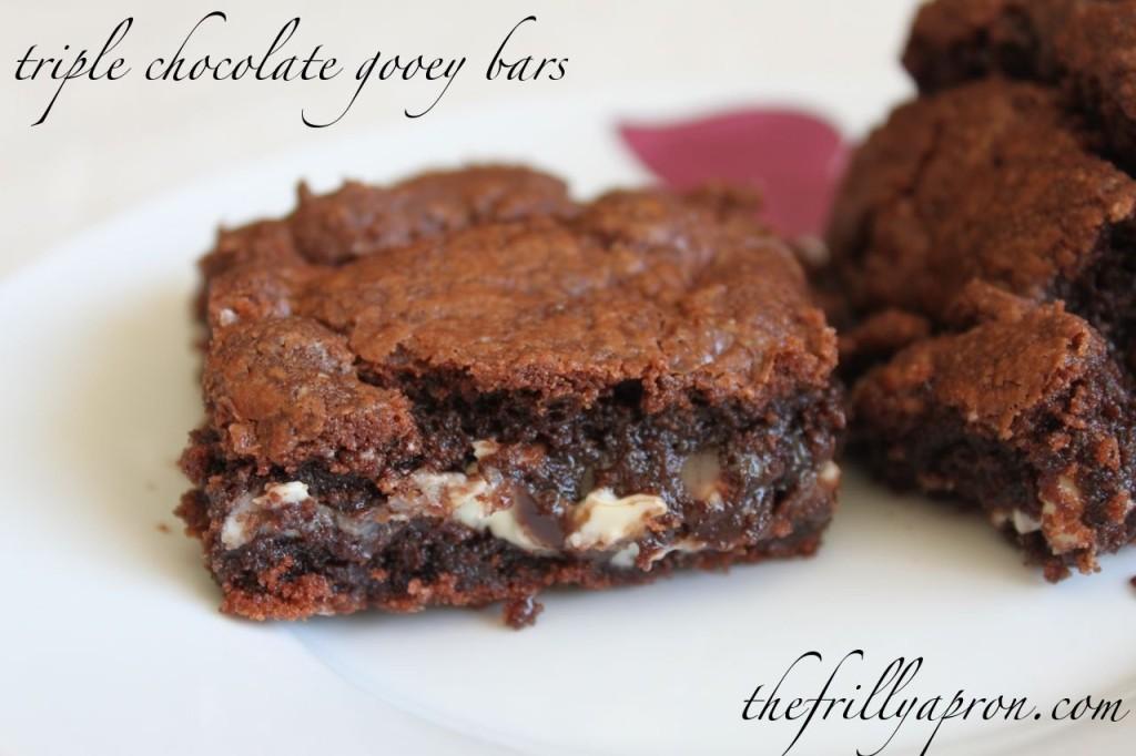 triple chocolate gooey bars